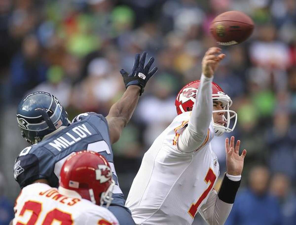 Kansas City Chiefs quarterback Matt Cassel (7) passes against Lawyer Milloy (36) of the Seattle Seahawks at Qwest Field.