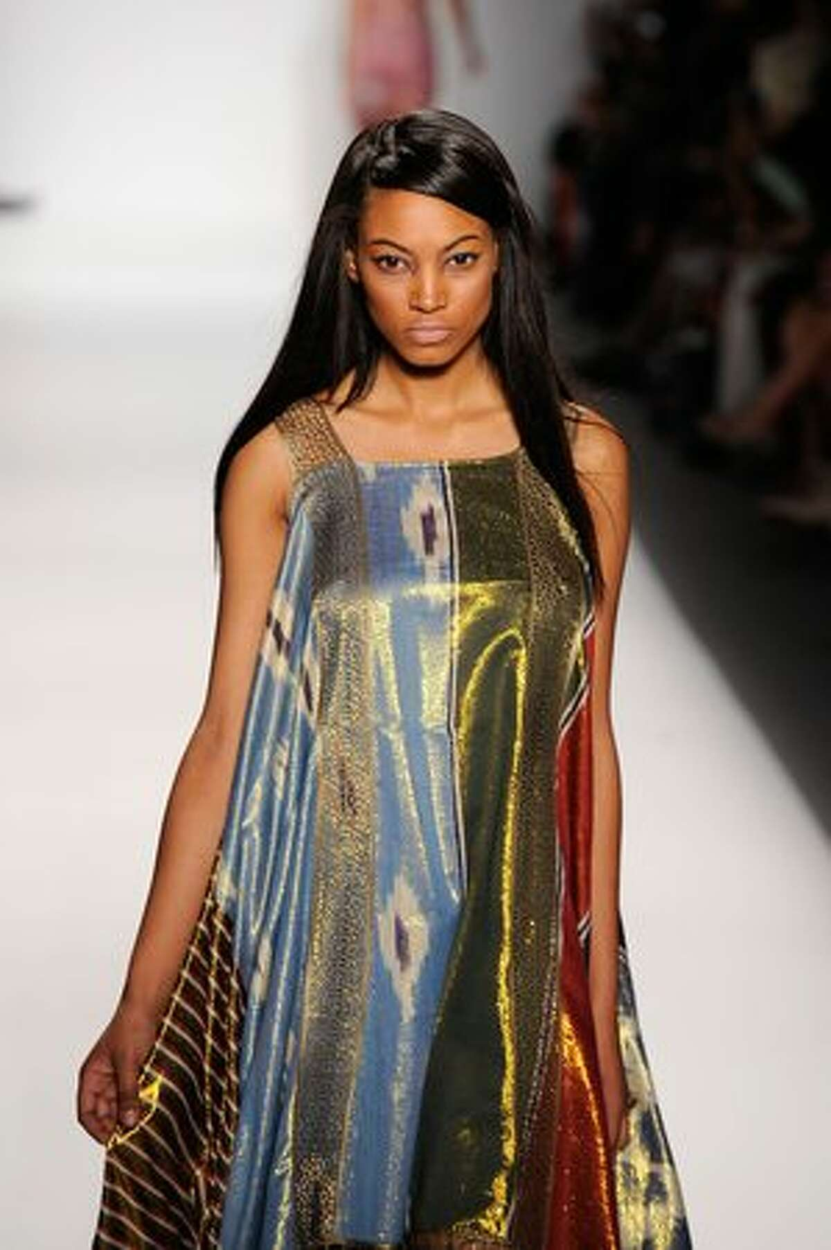 A model walks the runway at the Guli Collections Spring 2011 fashion show during Mercedes-Benz Fashion Week at The Studio at Lincoln Center in New York City.