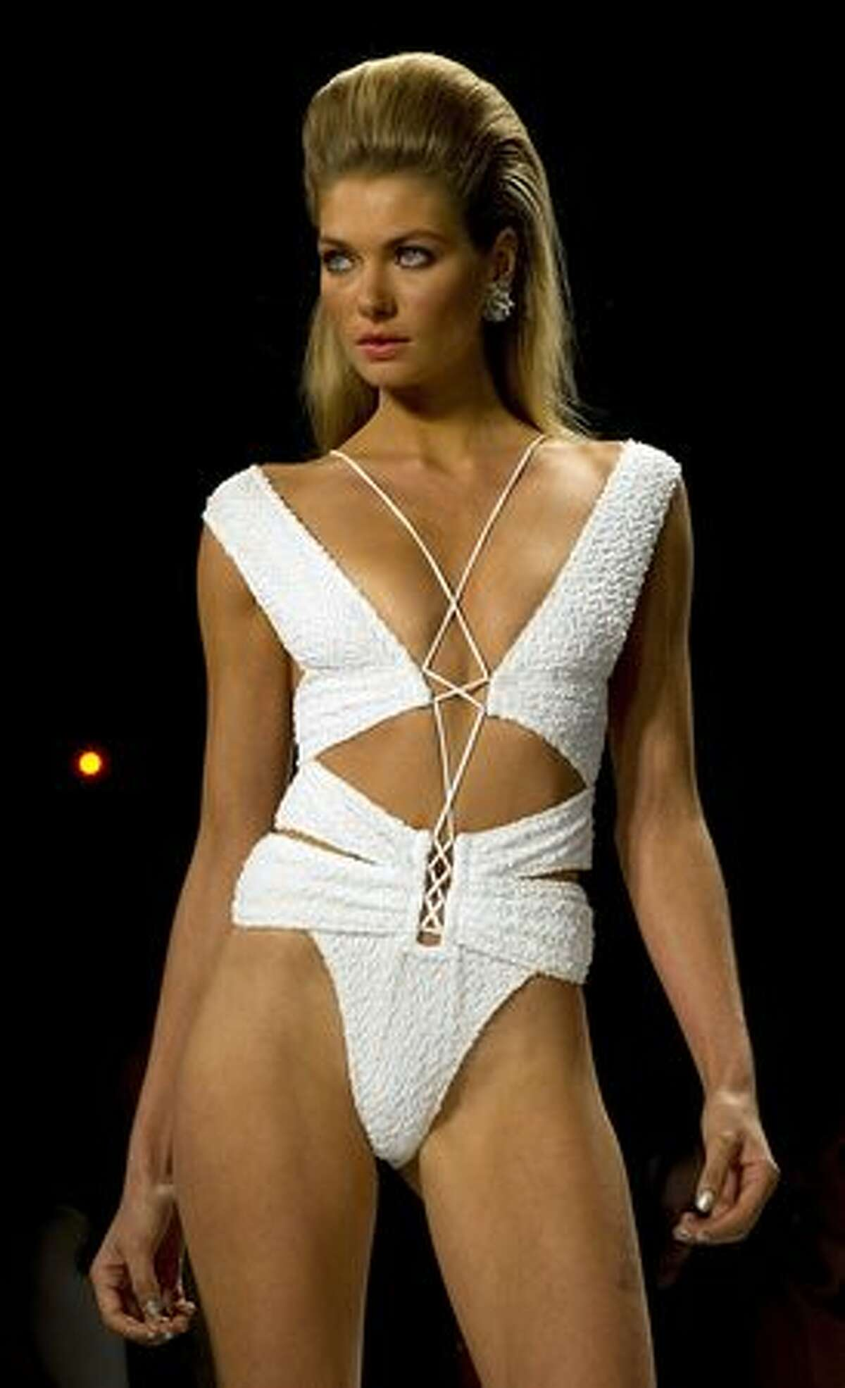 A model wears fashions from the Gottex collection at the Mercedes-Benz Fashion Week in New York City.