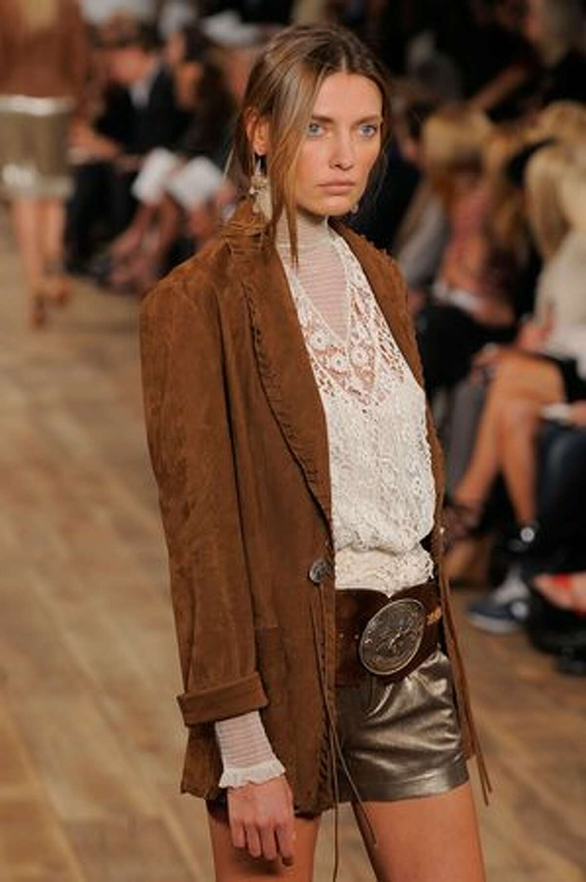 A model walks the runway at the Ralph Lauren Spring 2011 fashion show during Mercedes-Benz Fashion Week in New York City.