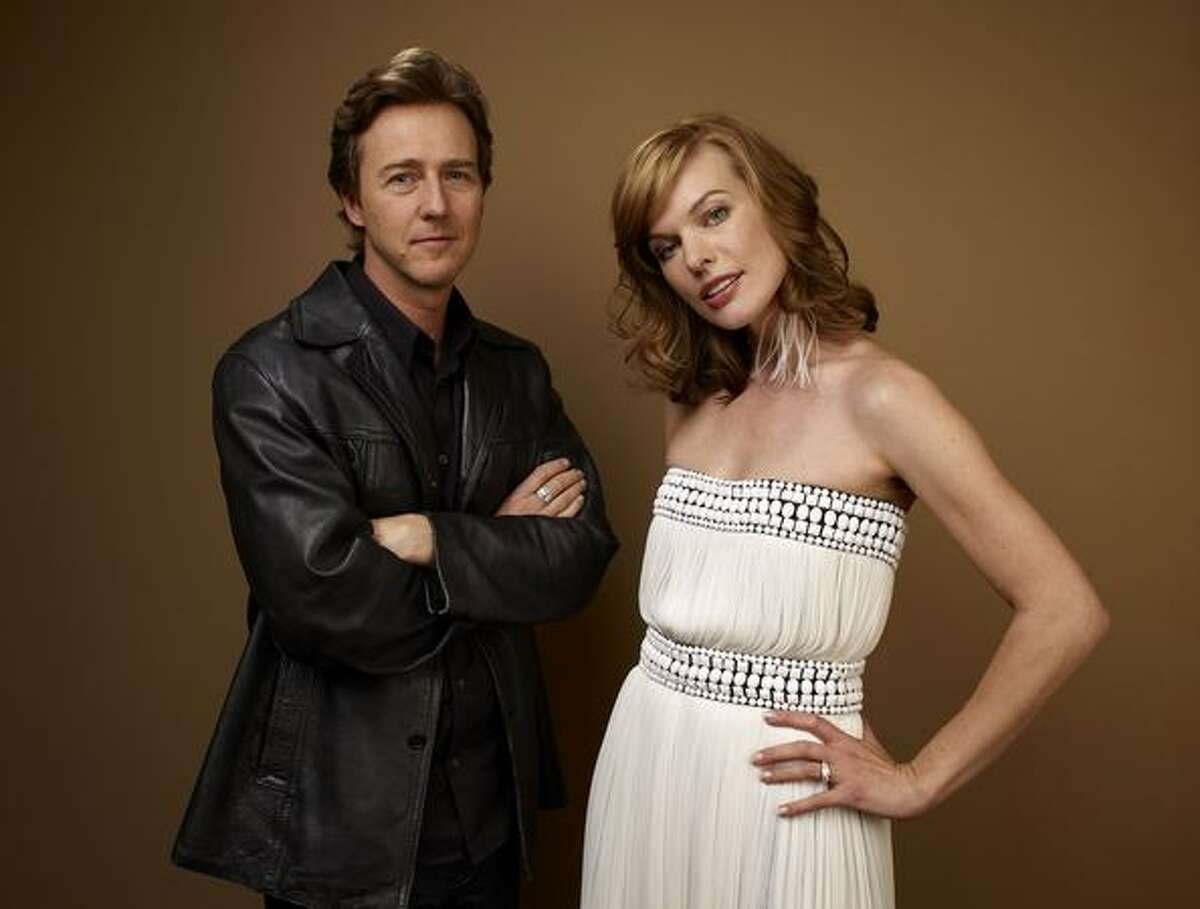 """Actor Edward Norton and actress Milla Jovovich from """"Stone"""" pose for a portrait during the 2010 Toronto International Film Festival in Guess Portrait Studio at Hyatt Regency Hotel on Thursday in Toronto, Canada."""
