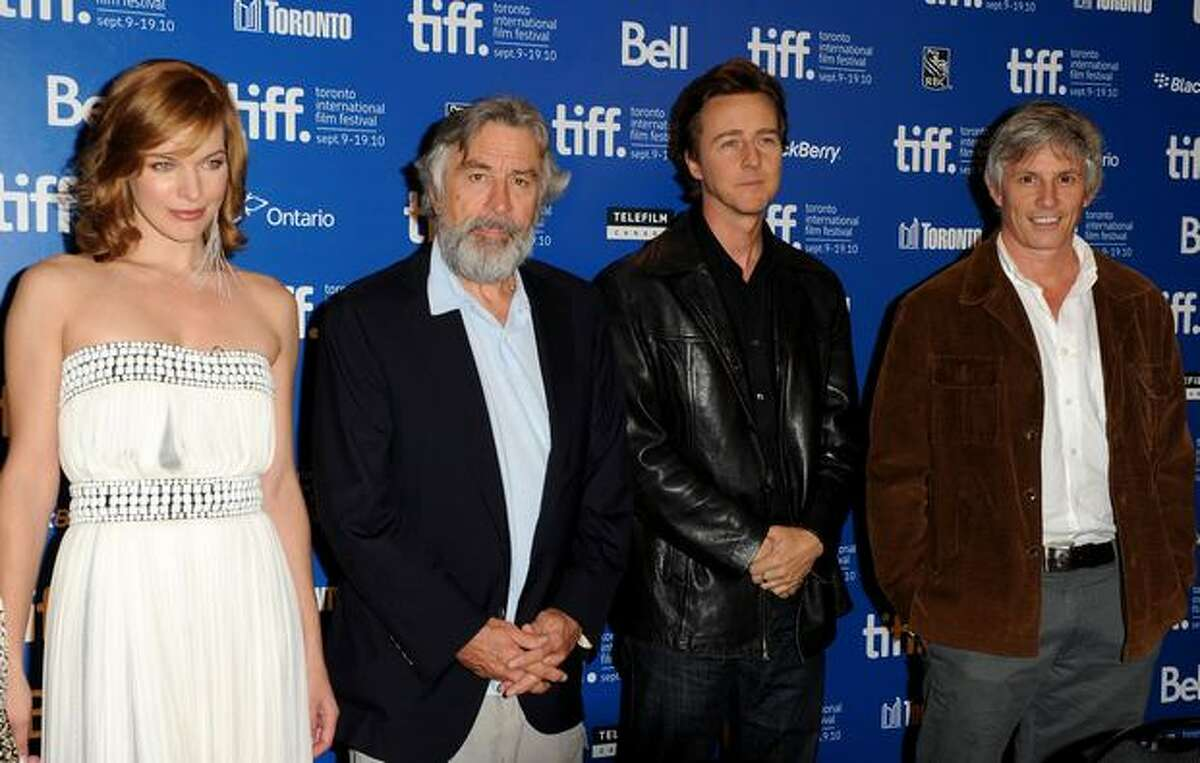 Actress Milla Jovavich, actor Robert De Niro, actor Edward Norton and director John Curran speaks at