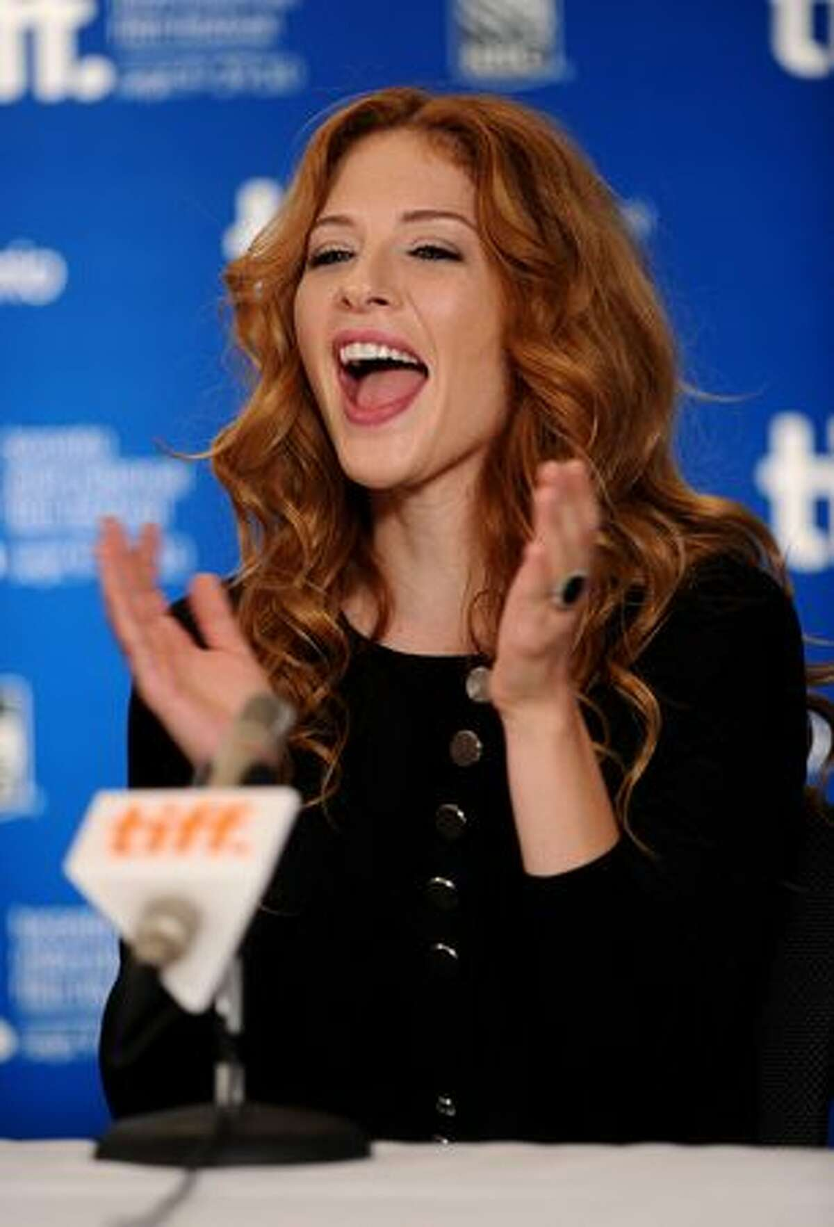 Actress Rachelle Lefevre speaks at