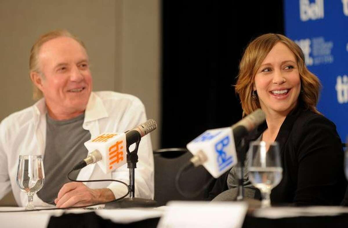 "Actor James Caan and actress Vera Farmiga speak at ""Henrey's Crime"" press conference."