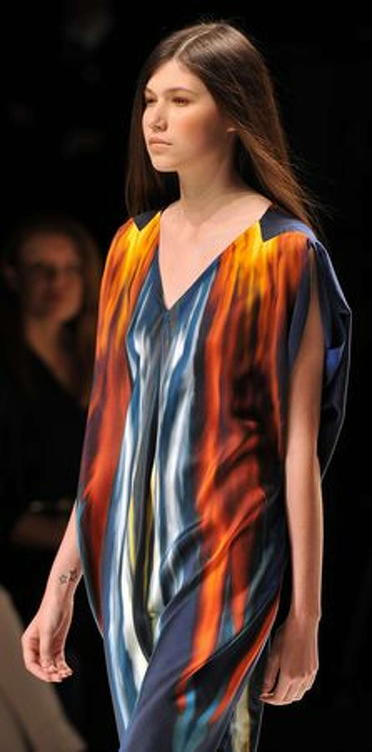 A model presents a creation by designer Maria Grachvogel during the Spring/Summer 2011 collections presentations on the first day of London Fashion Week, in London, on September 17, 2010.