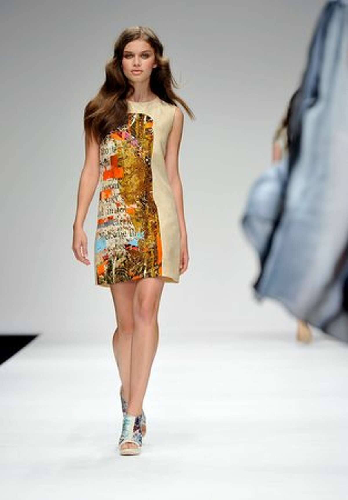 A model walks the runway during the Basso And Brooke fashion show.