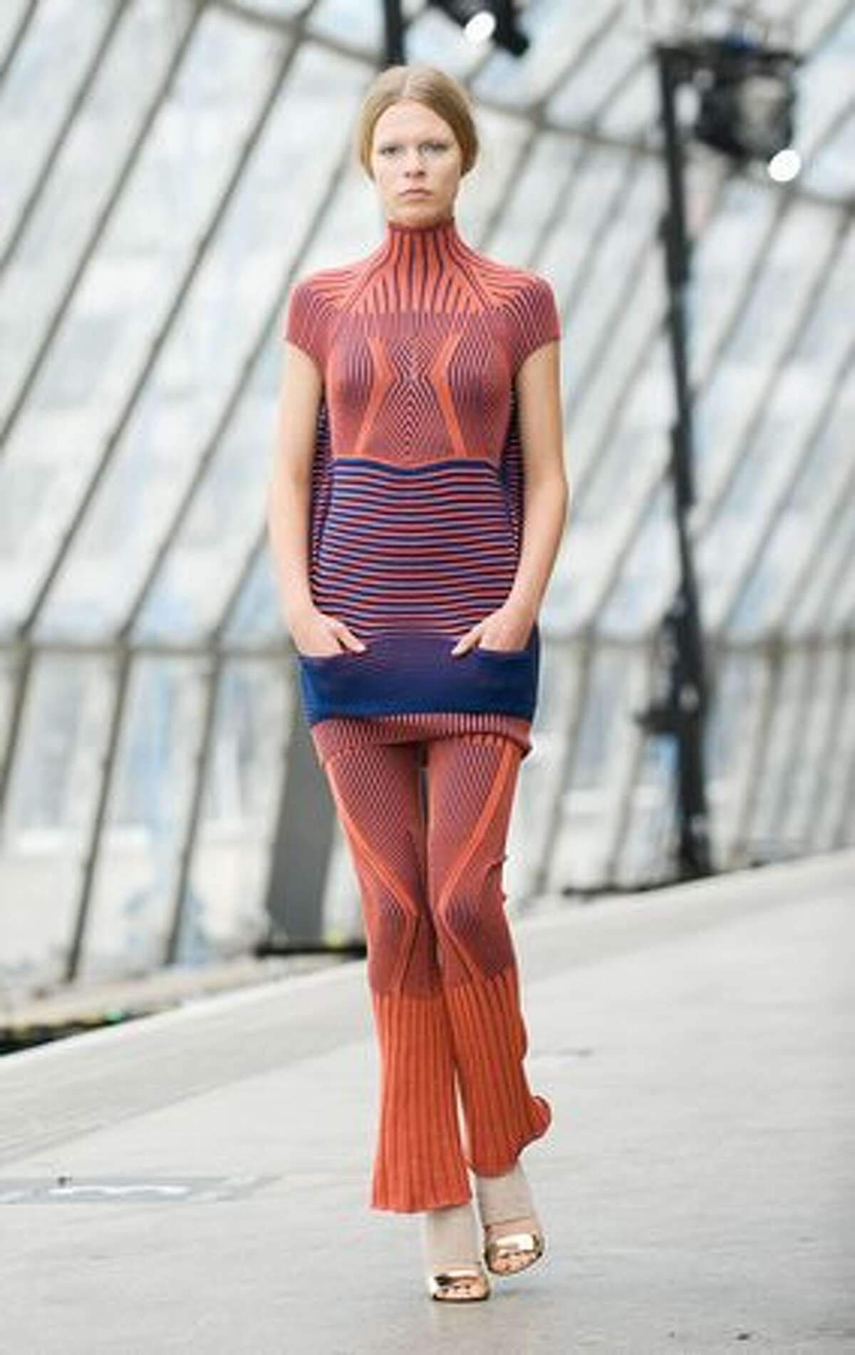 A model walks the catwalk at the Peter Pilotto spring/summer 2011 fashion show at the Topshop Venue at Waterloo Station during London Fashion Week on Monday, Sept. 20, 2010.