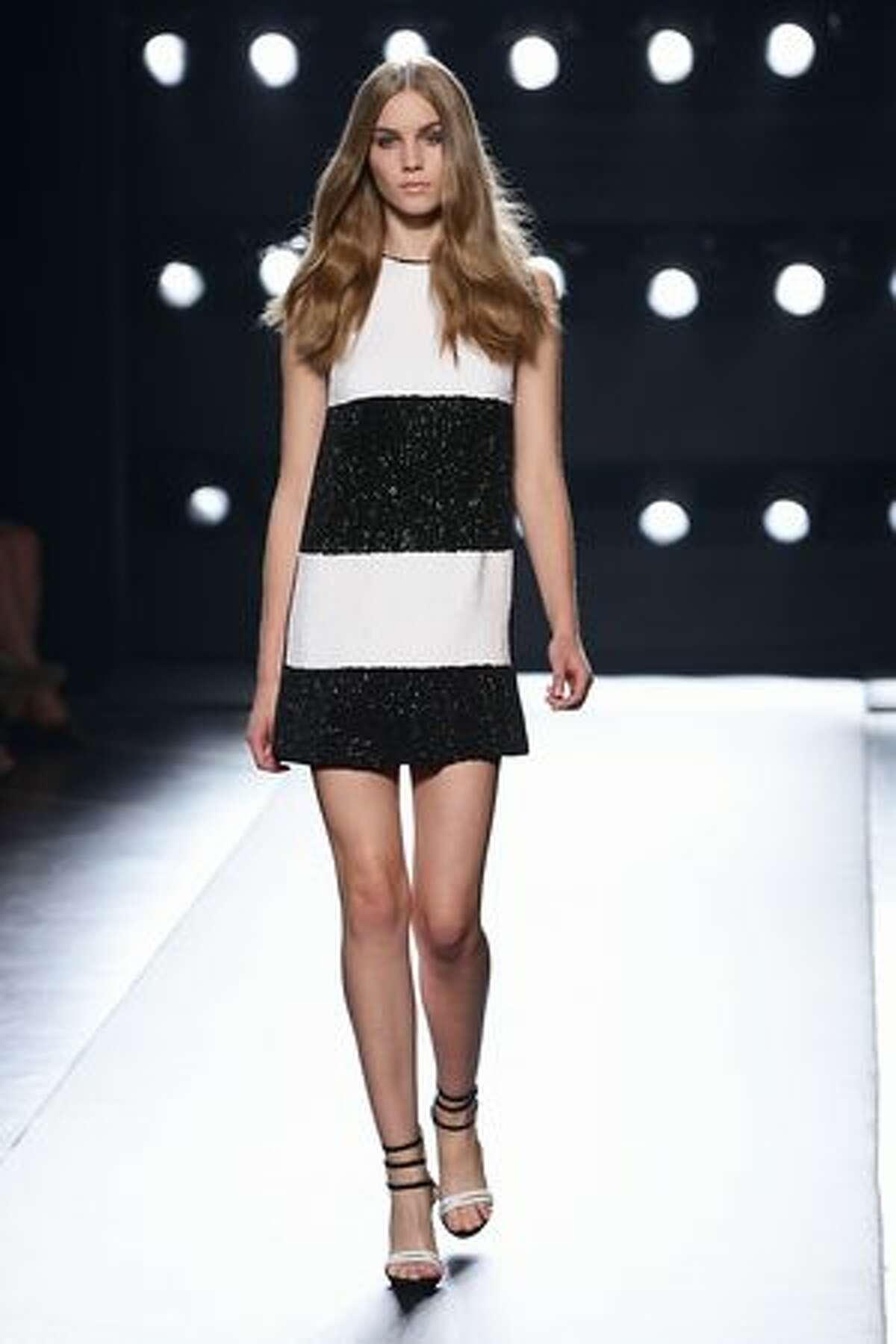 A model walks down the runway during Ferre Spring/Summer 2011 fashion show during Milan Fashion Week Womenswear in Milan, Italy.