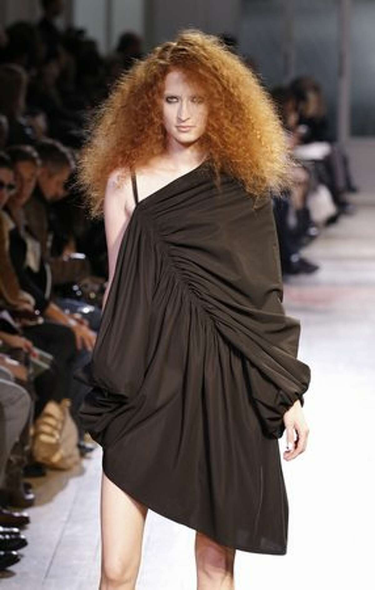 A model presents a creation by Japanese designer Limi Feu during the Spring/Summer 2011 ready-to-wear collection show in Paris.