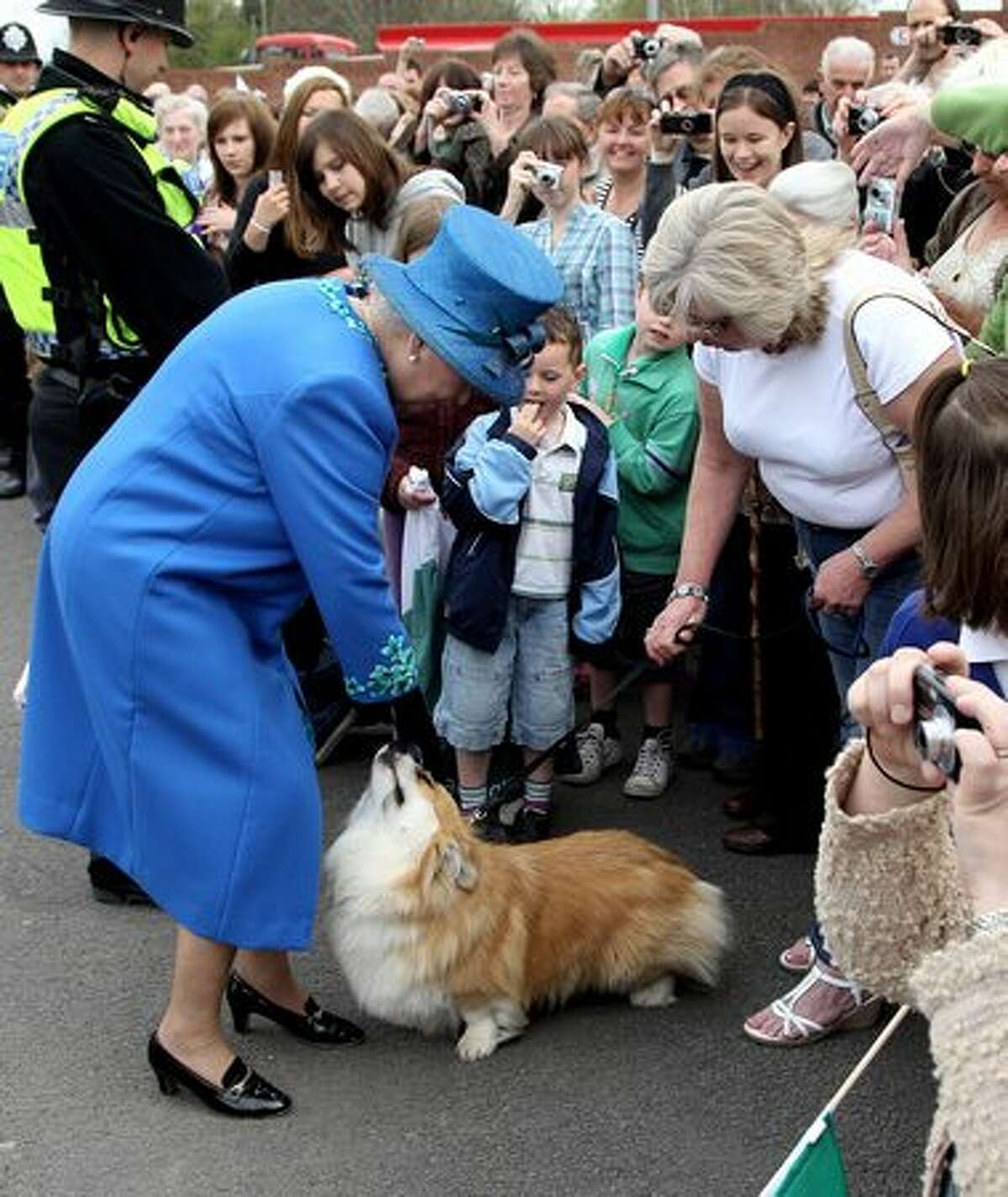 Queen Elizabeth II meets a corgi called Spencer as she arrives at Welshpool train station on April 28, 2010 in Welshpool, Wales.