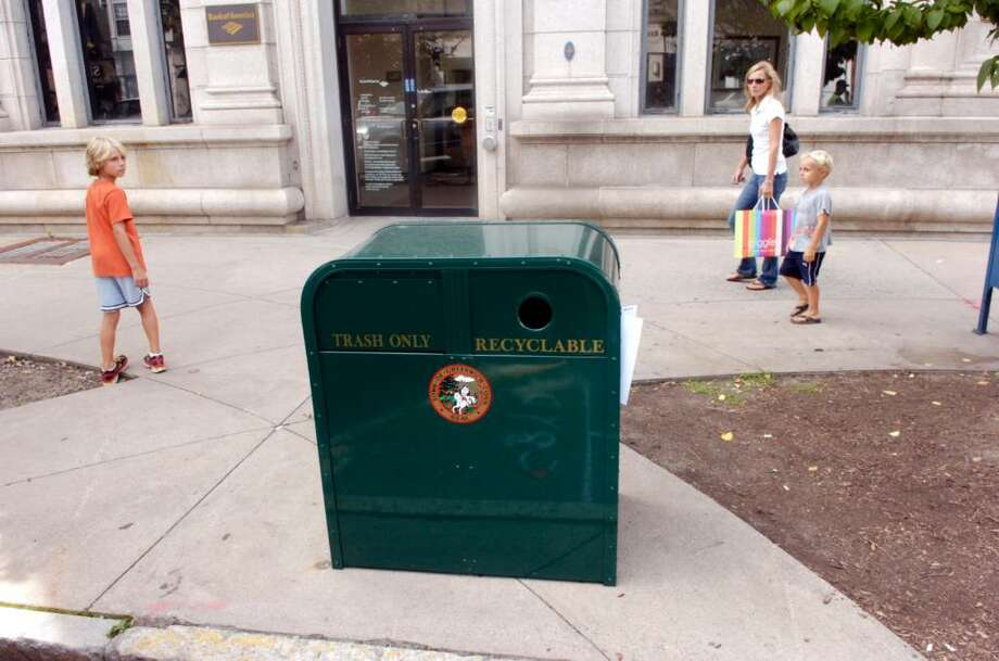 Greenwich Green & Clean is donating 34 new trash bins including this one in front of the Bank of America on Greenwich Avenue, they cost $750 each. Photo: Keelin Daly / Greenwich Time