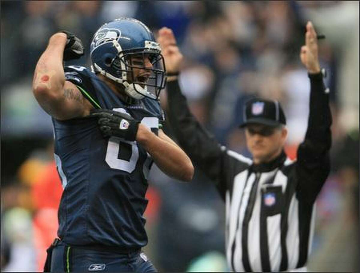 Seahawks tight end Jerramy Stevens celebrates his 2nd quarter touchdown catch.