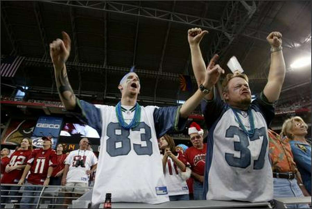 Fans Jeremy Ajllsson and Jason McDonald made the trip down from Seattle to watch as the Arizona Cardinals beat the Seahawks 27-21 at the University of Phoenix Stadium in Glendale, Ariz.