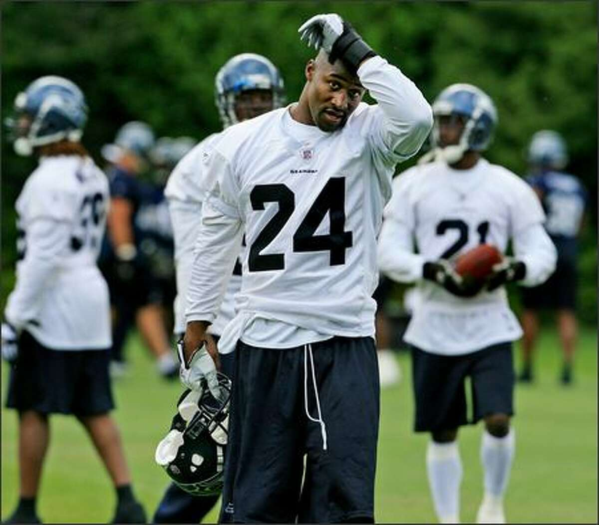 Seattle Seahawks safety Deon Grant during the final practice of the last mini-camp in Kirkland, WA on Thursday, June 14, 2007. The next practice will be training camp, which begins July 28.