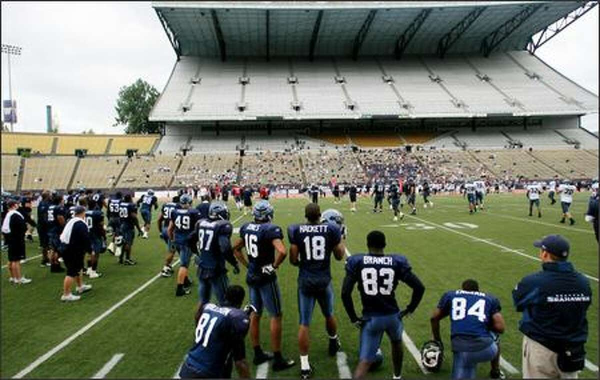 Fans were invited to a Seattle Seahawks special training camp day at Husky Stadium at the University of Washington in Seattle on Wednesday, August 8, 2007.