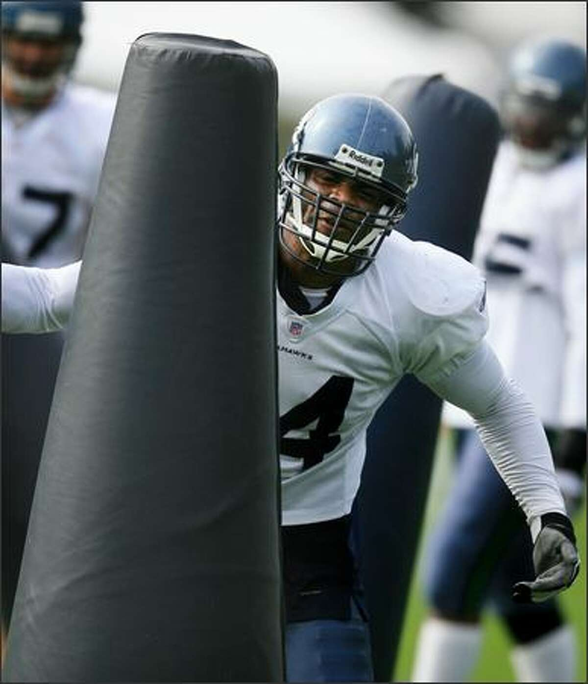 Defensive end Bryce Fisher during agility drills at Seattle Seahawks training camp in Kirkland on Thursday.