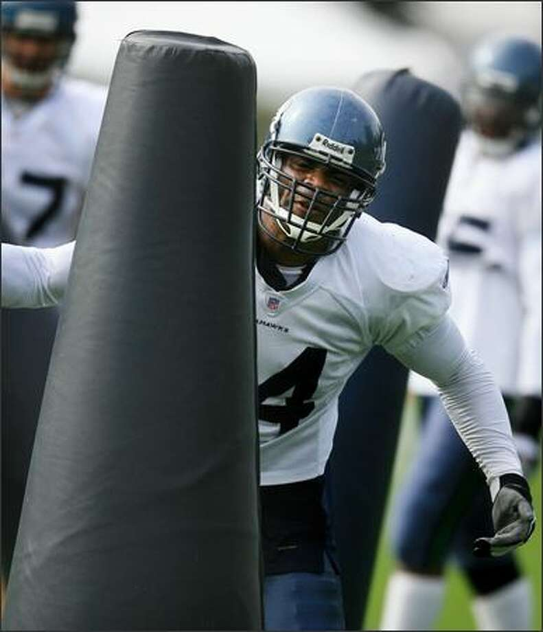 Defensive end Bryce Fisher during agility drills at Seattle Seahawks training camp in Kirkland on Thursday. Photo: Dan DeLong, Seattle Post-Intelligencer / Seattle Post-Intelligencer