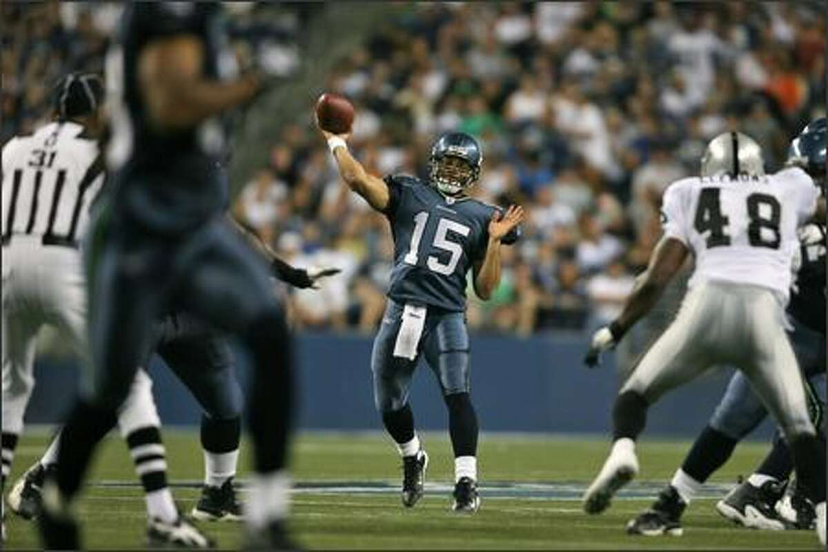 Seattle Seahawks Seneca Wallace (15) starts against the Oakland Raiders at Qwest Field in Seattle.