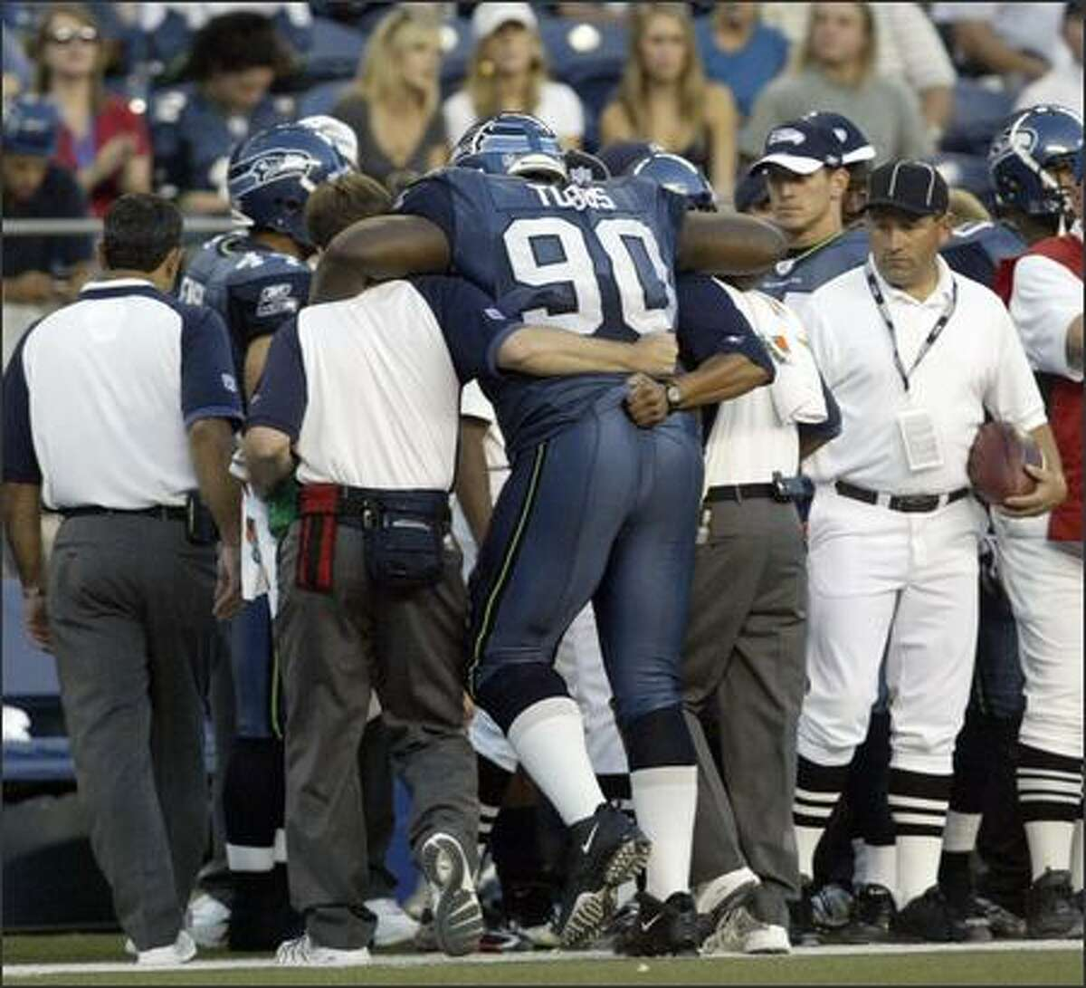 Marcus Tubbs - A defensive tackle out of Texas with huge potential, Tubbs was drafted by the Seahawks 23rd overall in 2004. Tubbs started 11 games his rookie year and 13 in his sophomore season, recording a respectable 53 tackles and 6.5 sacks. But after micro-fracture surgery to his knee caused him to miss 11 games in 2006, Tubbs was placed on injured reserve before the 2007 season ever began. A year later he was released from the team.