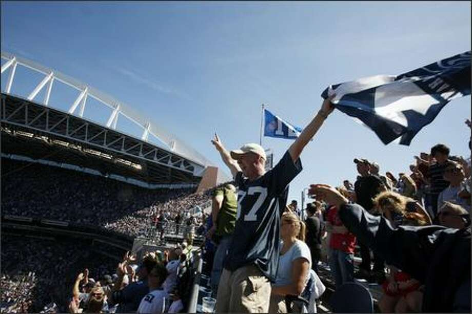 Bryce King of Federal Way cheers on the Seahawks during the opening game of the season, against the Tampa Bay Buccaneers on Sunday in Seattle. Photo: Meryl Schenker, Seattle Post-Intelligencer / Seattle Post-Intelligencer