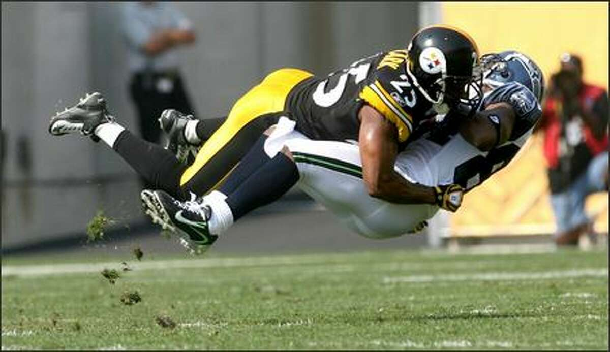 Pittsburgh safety Ryan Clark levels Seattle receiver Bobby Engram after a catch in the first quarter.