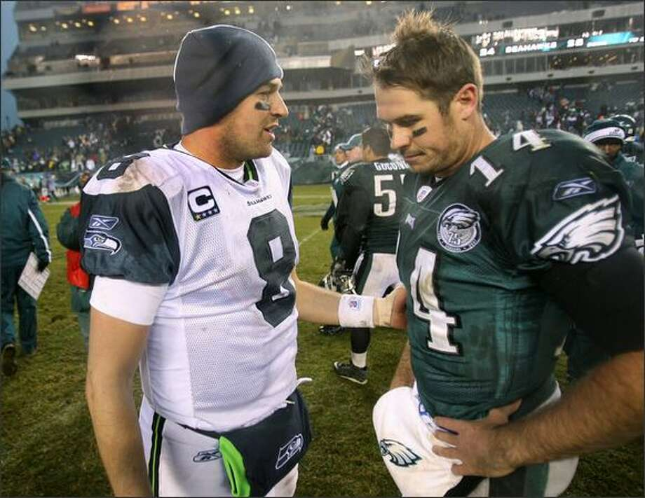 Seattle Seahawks quarterback Matt Hasselbeck and Philadelphia Eagles quarterback A.J. Feeley talk after their game at Lincoln Financial Field in Philadelphia. Photo: Dan DeLong, Seattle Post-Intelligencer / Seattle Post-Intelligencer