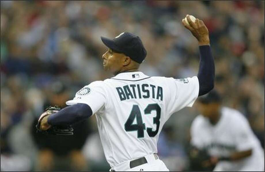 Seattle Mariners Miguel Batista struggles giving up 5-runs in the 2nd inning against the Oakland Athletics at Safeco Field on Wednesday April 4, 2007. Photo: Gilbert W. Arias, Seattle Post-Intelligencer / Seattle Post-Intelligencer