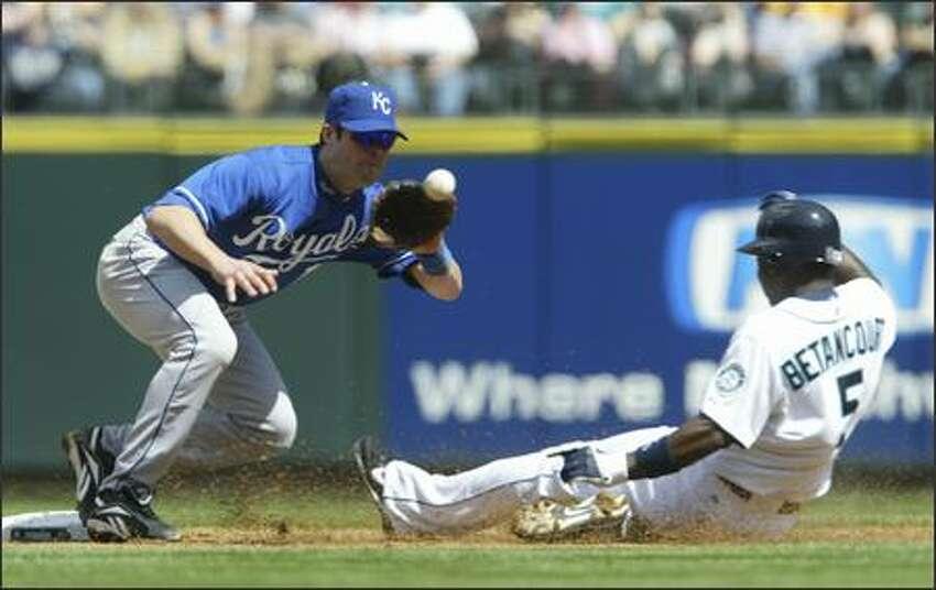 Yuniesky Betancourt beats a throw to Mark Grudzielanek as he steals second base in the second inning.