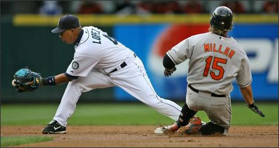 Jose Lopez can't corral the ball in time as Baltimore's Kevin Millar doubles to left field in the first inning. Photo: Mike Urban, Seattle Post-Intelligencer / Seattle Post-Intelligencer