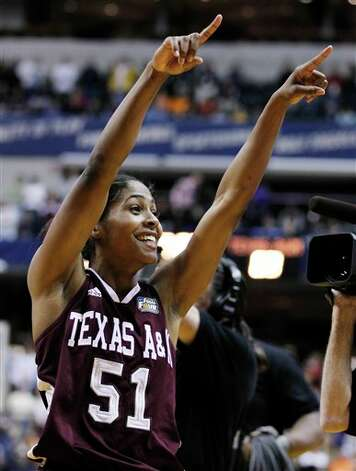 Texas A&M's Sydney Colson (51) celebrates afterTexas A&M's 63-62 win over Stanford in a women's NCAA Final Four semifinal college basketball game in Indianapolis, Sunday, April 3, 2011. Photo: Michael Conroy, AP / AP