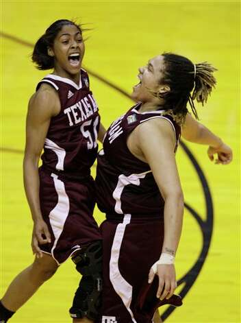 Texas A&M players Sydney Colson, left, and Danielle Adams celebrate their 63-62 win over Stanford in a women's NCAA Final Four semifinal college basketball game in Indianapolis, Sunday, April 3, 2011. Photo: Amy Sancetta, AP / AP