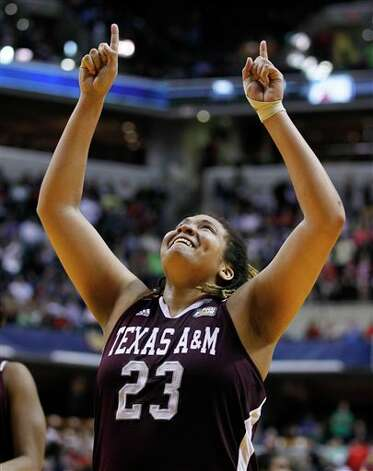 Texas A&M's Danielle Adams (23) celebrates her team's 63-62 win over Stanford in a women's NCAA Final Four semifinal college basketball game in Indianapolis, Sunday, April 3, 2011. Photo: Michael Conroy, AP / AP