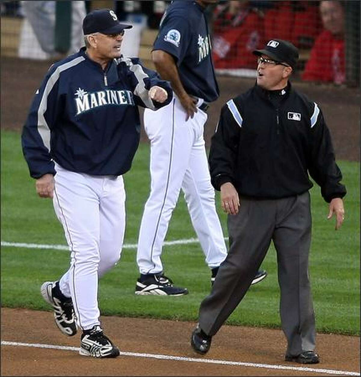 Seattle Mariners manager Mike McLaren found himself ejected after arguing a check swing call with third base umpire Jerry Meals as the Mariners played the Los Angeles Angels during first inning action at Safeco Field in Seattle, Wash., Monday August 27, 2007.