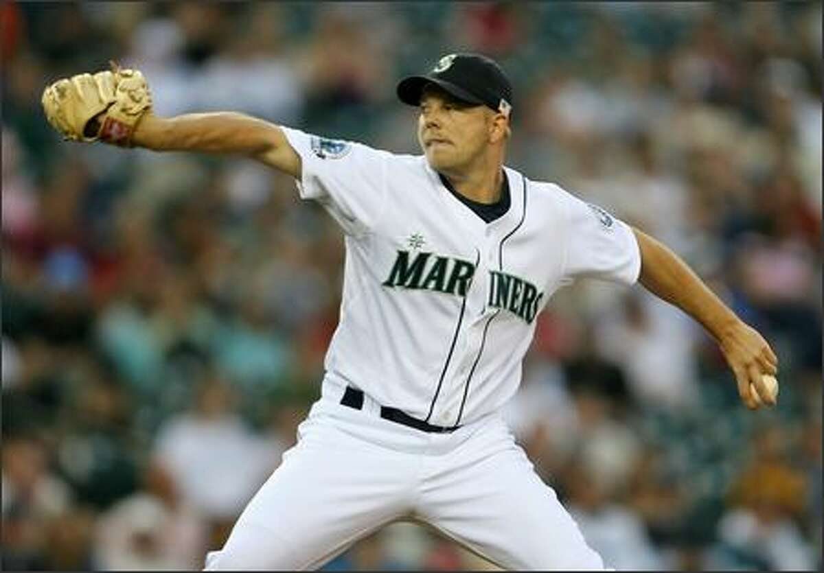 Seattle Mariners Jarrod Washburn starts against the Oakland Athletics during first inning action at Safeco Field.