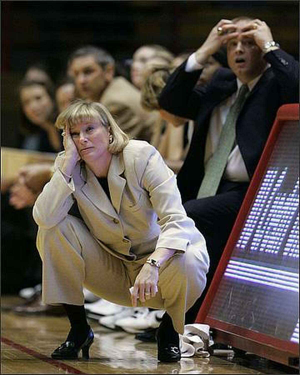 Purdue coach Sharon Versyp, left, reacts to a call during the second half of an NCAA college basketball game against Indiana in Bloomington, Ind., Monday, Jan. 19, 2009. Indiana won 71-57. (AP Photo/Darron Cummings)