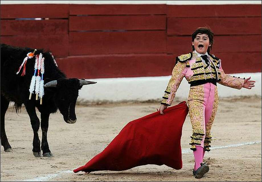 Franco-Mexican ten-year-old bullfighter Michelito performs during a bullfight at the bullring in Merida, Yucatan state. Michelito killed six young bulls on January 24 in a controversial spectacle that child protection and anti-bullfighting campaigners had hoped to stop. AFP PHOTO / Luis PEREZ