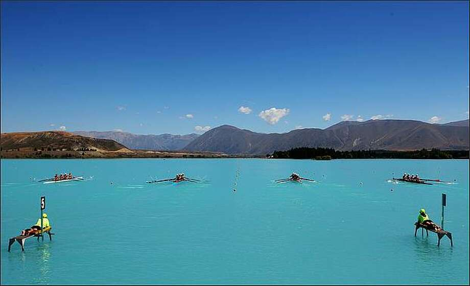 Crews in the Womens Club Coxed Four leave the start on day two of the New Zealand National Club Rowing Championships at Lake Ruatanihwa in Twizel, New Zealand.