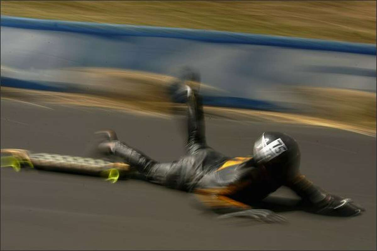 Kevin O'Hara crashes during practice for the speedboard competition during day one of the Newton's Playground weekend on Mount Panorama in Bathurst, Australia. Photo by Ezra Shaw/Getty Images