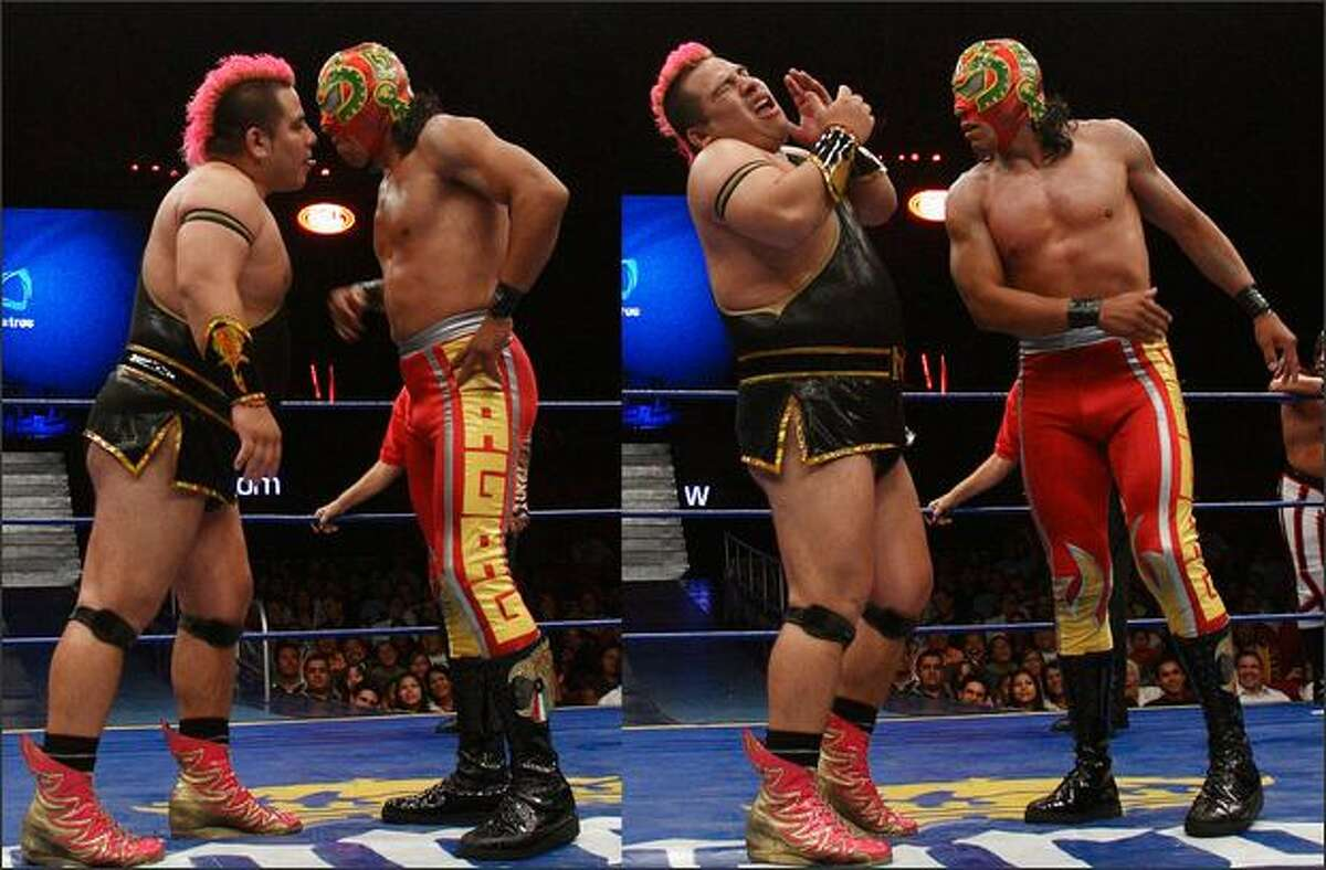 """In this sequence of photos, wrestler Maximo, left, tries to kiss his opponent who slaps him during a bout at Arena Mexico in Mexico City. Maximo's effeminate gestures and pink costume have earned him the image of the gay wrestler in the ring, who often tries to kiss his opponents. But in actuality Maximo is part of a long line of Mexican wrestlers known as """"The Exotics."""" (AP Photo/Gregory Bull)"""