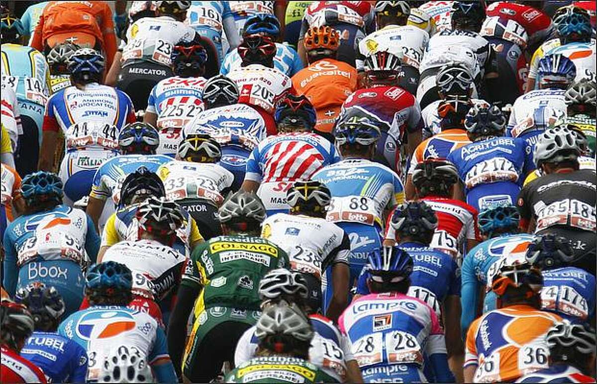The pack rides up to the Wall of Huy during the Fleche Wallonne cycling race April 22 in Huy, Belgium. Davide Rebellin of Italy won the race, Andy Schleck of Luxembourg finished second ahead of Damiano Cunego of Italy, who finished third.
