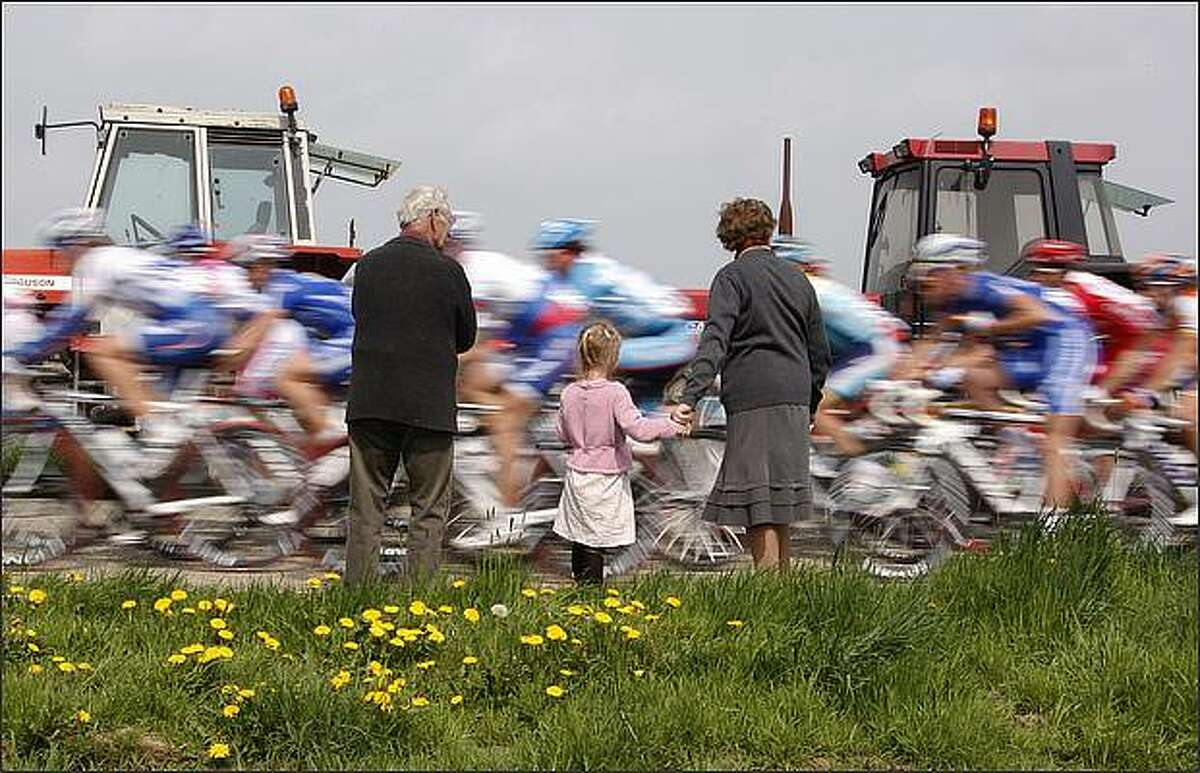 Cyclists compete during the Fleche Wallonne cycling race near Huy, Belgium, on April 22. Davide Rebellin of Italy won the race, Andy Schleck of Luxembourg finished second ahead of Damiano Cunego of Italy, who finished third.