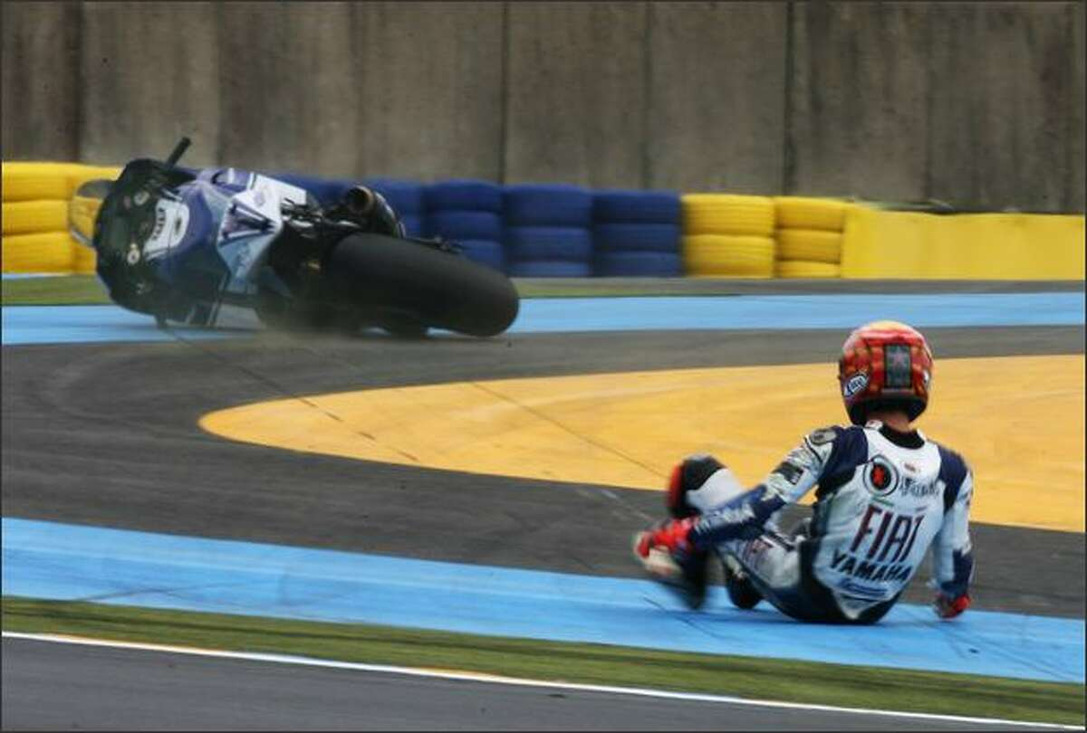 Jorge Lorenzo of Spain and the Fiat Yamaha Team crashes during second practice for the MotoGP of France at the Le Mans Circuit in Le Mans, France. (Photo by Bryn Lennon/Getty Images)