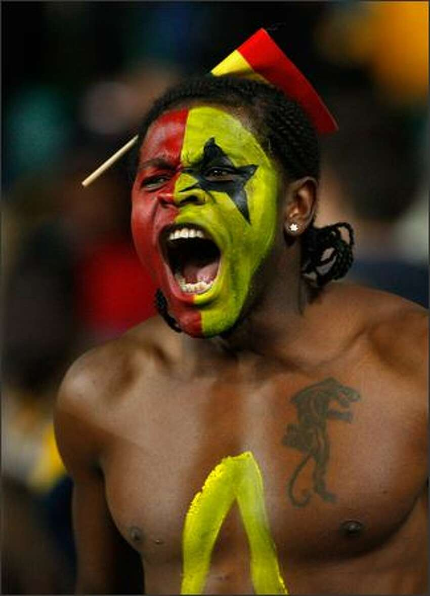 A Ghana fan shows his emotion during the international friendly match between the Australian Socceroos and Ghana at Sydney Football Stadium in Sydney, Australia. (Photo by Cameron Spencer/Getty Images)