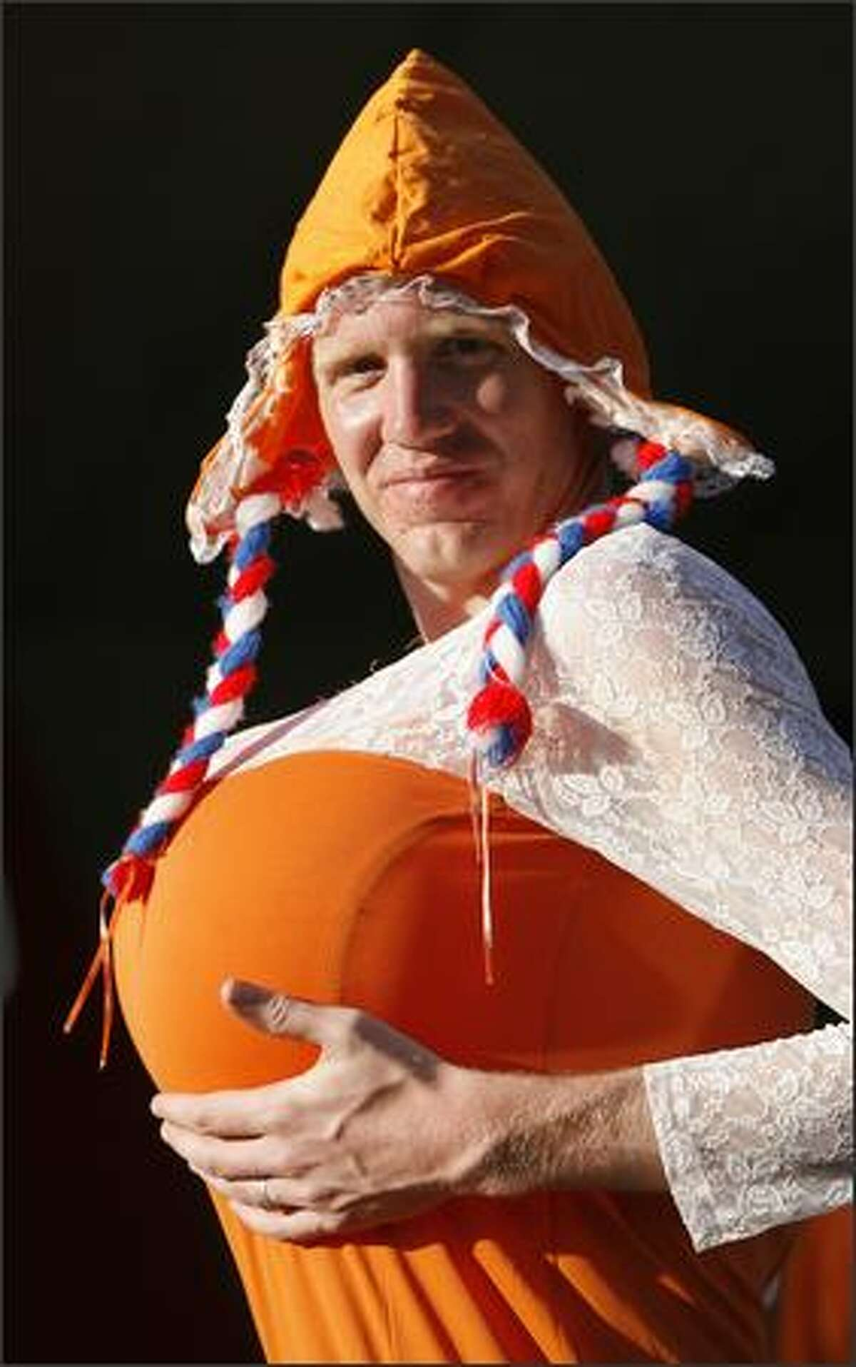 A Dutch fan is seen prior to the quarterfinal match between the Netherlands and Russia in Basel, Switzerland at the Euro 2008 European Soccer Championships in Austria and Switzerland. (AP Photo/Peter Klaunzer)