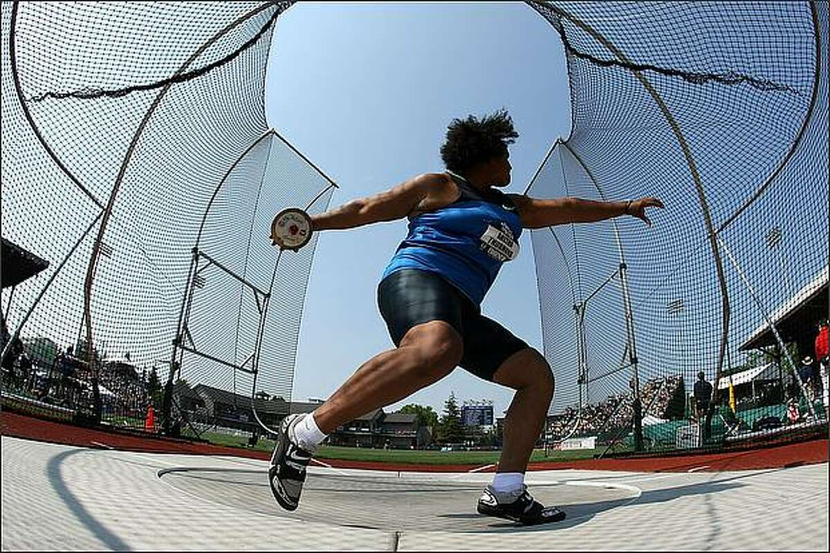 Aretha Thurmond competes in the discus throw final during day three of the U.S. Track and Field Olympic Trials at Hayward Field in Eugene, Oregon. Thurmond won the gold medal.