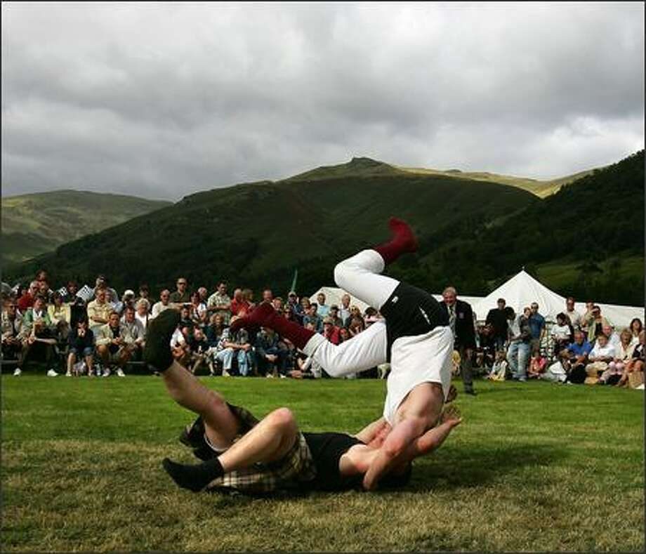 John Hirsch and Robert Lieper, the Scottish heavyweight champion, compete in the heavyweight final at Grassmere Lakeland Sports & Show on August 26, 2007 in Lake District, England. Grassmere Sports is the largest traditional show in the Lakeland district. Photo by Cate Gillon/Getty Images