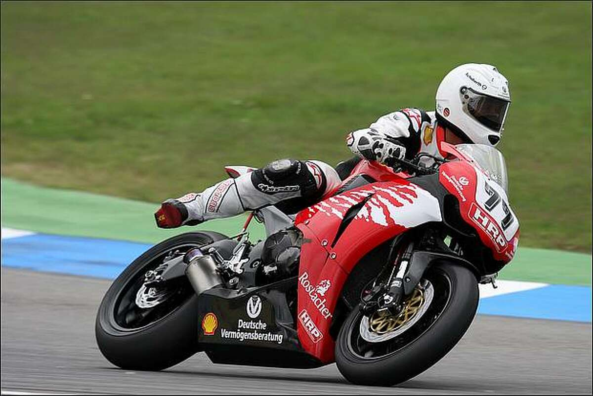 Michael Schumacher of Germany in action during practice for the International German motorbike championships at the Hockenheimring in Hockenheim, Germany. (Photo by Bongarts/Getty Images)