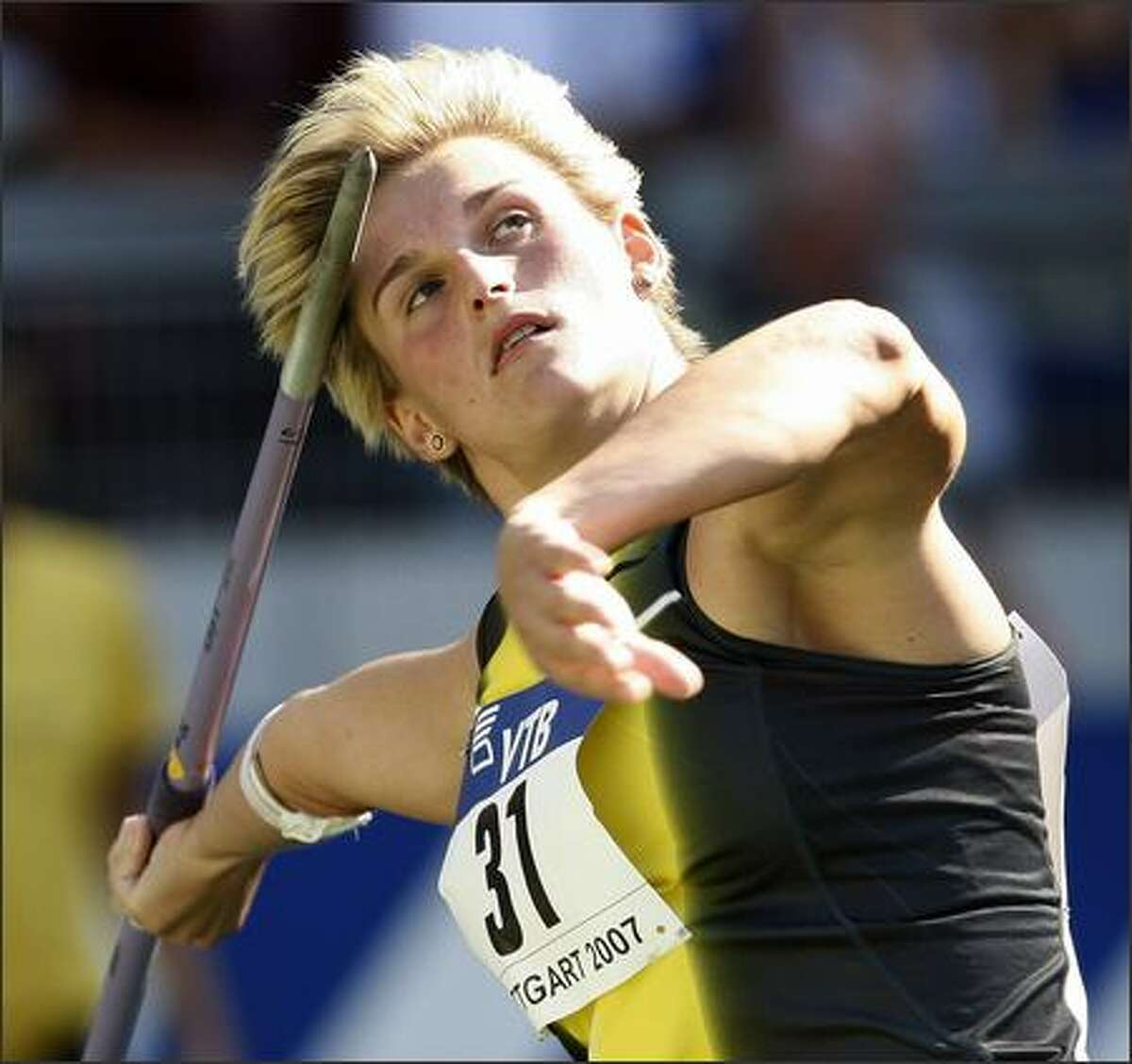Barbora Spotakova from the Czech Republic makes an attempt during the Women's Javelin Throw at the IAAF World Athletics Final at the Gottlieb Daimler stadium in Stuttgart, Germany, on Saturday, Sept. 22, 2007. She finished first. (AP Photo/Thomas Kienzle)