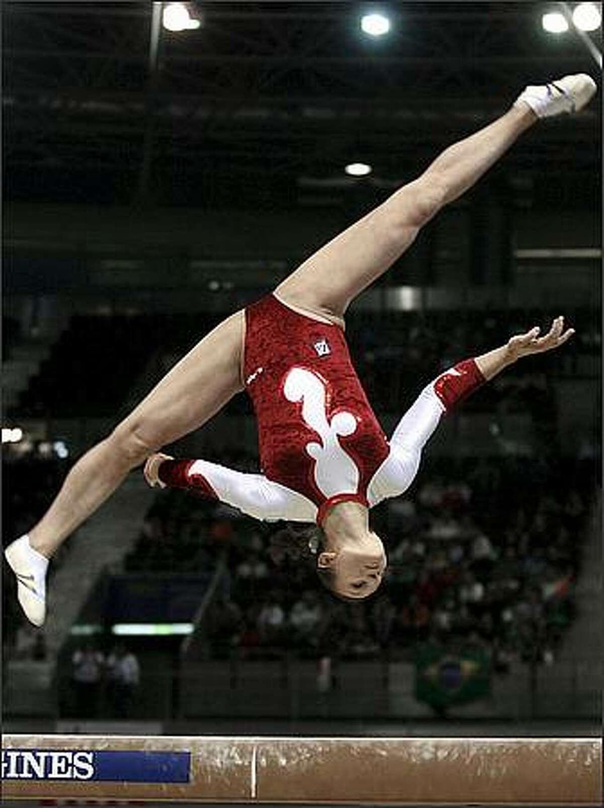 Dariya Zgoba of the Ukraine jumps during the Artistic Gymnastics World Cup Finals in Madrid. (AP Photo/EFE, Victor lerena)