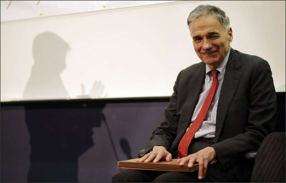 Independent presidential candidate, Ralph Nader, is introduced at the